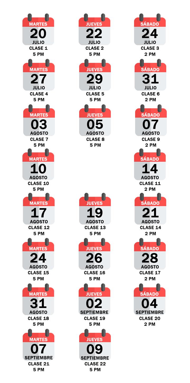 Calendario de clases del Curso de Álgebra